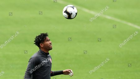 Peru's goalkeeper Pedro Gallese views the ball during a training session in Rio de Janeiro, Brazil, . Peru will face Brazil for the Copa America final soccer match on July, 7