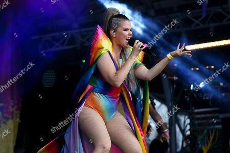Finnish singer Saara Aalto performs at London Pride, the Lesbian, Gay, Bisexual, and Transgender (LGBT) parade in London, Britain, 06 July 2019. According to reports, about 30 thousand people are about to take part in the annual event aiming to raise awareness and campaign for equality on LGBT issues.