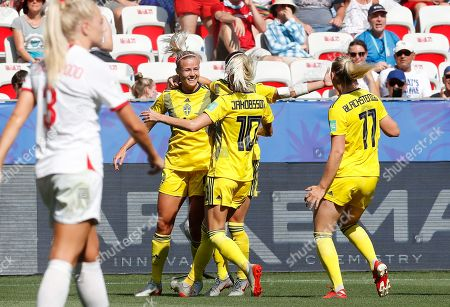Kosovare Asllani of Sweden celebrates with her teammates after scoring a goal against England during the FIFA Women's World Cup 2019 soccer match for third post between England vs Sweden in Nice, France, 06 July 2019.
