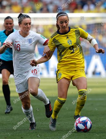 Jade Moore (L) of England in action against Kosovare Asllani (R) of Sweden during the FIFA Women's World Cup 2019 soccer match for third place between England vs Sweden in Nice, France, 06 July 2019.