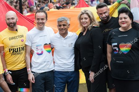 Mayor of London Sadiq Khan and Secretary of State for Defence and Minister for Women and Equalities Penny Mordaunt join the Pride in London parade