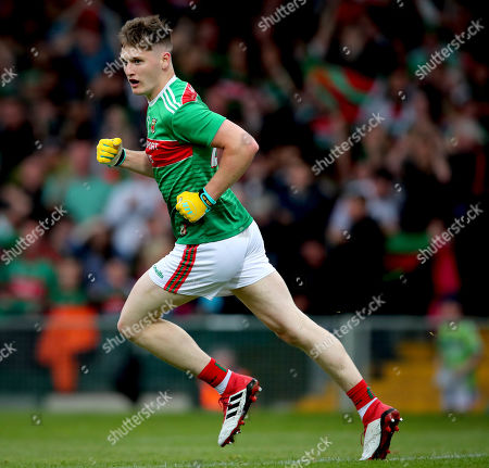 Galway vs Mayo. Mayo's James Carr celebrate scoring the second goal of the game