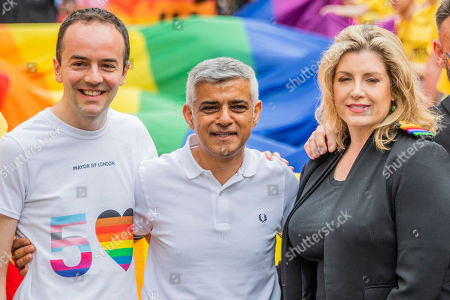 Sadiq Khan and Penny Mordaunt, Secretary of State for Defence, with rainbow rank instead of her naval reserve ones