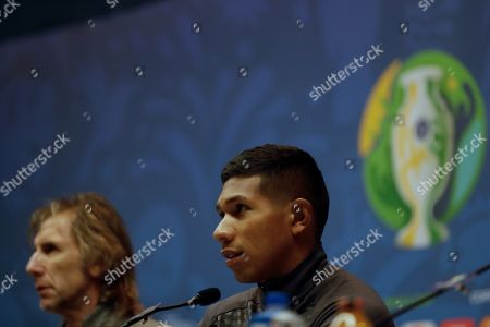 Peru's national soccer team players Edison Flores (R) and head coach Ricardo Gareca attend a press conferece at Maracana stadium in Rio de Janeiro, Brazil, 06 July 2019. Peru will face Brazil in the Copa America 2019 final on 07 July.