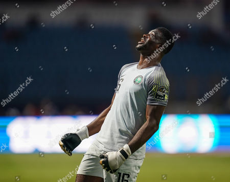 FRANCE OUT Daniel Akpeyi of Nigeria celebrating Nigeria scoring to 3-2 during the African Cup of Nations match between Cameroon and Nigeria at the Alexanddria Stadium in Alexandria, Egypt