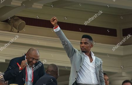 FRANCE OUT Samuel Eto'o, former Cameroon player celebrating cameroon scoring to 2-1 during the African Cup of Nations match between Cameroon and Nigeria at the Alexanddria Stadium in Alexandria, Egypt