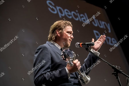 Stock Picture of German director Jan-Ole Gerster speaks after he received the Official Competition Special Jury Prize for 'Lara' (Lara) during the closing ceremony of the 54th Karlovy Vary International Film Festival in Karlovy Vary, Czech Republic, 06 July 2019.