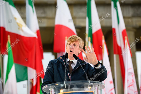 Stock Image of Former US Congressman Patrick Kennedy, nephew of murdered President John F. Kennedy, speaks during a rally of supporters of the National Council of Resistance of Iran (NCRI) in Berlin, Germany, 06 July 2019. People protest against the current government, calling for a regime change and a democratization of society
