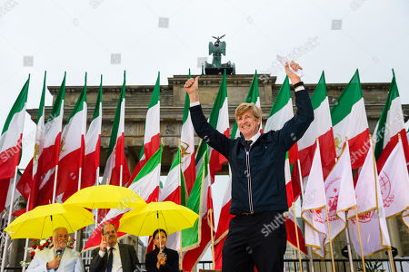Former US Congressman Patrick Kennedy, nephew of murdered President John F. Kennedy, gestures during a rally of supporters of the National Council of Resistance of Iran (NCRI) in Berlin, Germany, 06 July 2019. People protest against the current government, calling for a regime change and a democratization of society