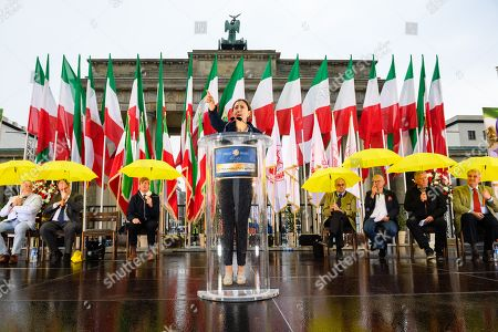 Colombian politician Ingrid Betancourt speaks during a rally of supporters of the National Council of Resistance of Iran (NCRI) in Berlin, Germany, 06 July 2019. People protest against the current government, calling for a regime change and a democratization of society
