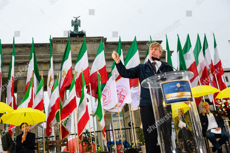 Former US Congressman Patrick Kennedy, nephew of murdered President John F. Kennedy, speaks during a rally of supporters of the National Council of Resistance of Iran (NCRI) in Berlin, Germany, 06 July 2019. People protest against the current government, calling for a regime change and a democratization of society
