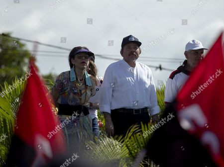Nicaraguan president Daniel Ortega (R) and Vice President Rosario Murillo (L) participate in the 30km itinerary to commemorate the 40th anniversary of the 'tactical retreat' in Masaya, Nicaragua, 06 July 2019. The march from Managua to Masaya occured in 1979, when thousands walked to escape the National Guard of dictator Anastasio Somoza Debayle.