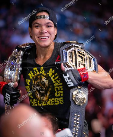 Amanda Nunes smiles after victory over Holly Holm during their women's bantamweight mixed martial arts title bout at UFC 239, in Las Vegas. Nunes won by first-round knockout