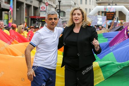 Mayor of London, Sadiq Khan and Penny Mordaunt Minister for Women and Equalities during the parade.