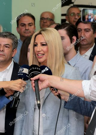 Fofi Gennimata, President of the Movement for Change (KINAL) party speaks to the media after casting her vote at a polling station in Athens, during the general elections, in Athens, Greece, 07 July 2019. Greek voters will go to the polls on 07 July 2019 to cast their ballots in the Greek general elections.