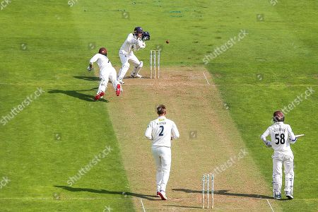 Ben Foakes of Surrey dives for the crease during the Specsavers County Champ Div 1 match between Surrey County Cricket Club and Kent County Cricket Club at the Kia Oval, Kennington