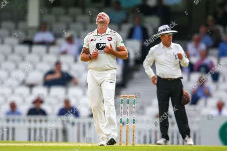 Darren Stevens of Kent bowling shows frustration during the Specsavers County Champ Div 1 match between Surrey County Cricket Club and Kent County Cricket Club at the Kia Oval, Kennington