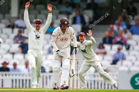 Wicket! Gareth Batty of Surrey bowled out lbw by Matt Milnes of Kent during the Specsavers County Champ Div 1 match between Surrey County Cricket Club and Kent County Cricket Club at the Kia Oval, Kennington
