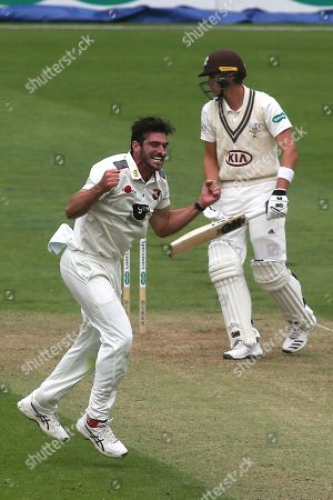 Kent bowler, Grant Stewart celebrates taking the wicket of Surrey's Jamie Smith given out lbw during Surrey CCC vs Kent CCC, Specsavers County Championship Division 1 Cricket at the Kia Oval on 7th July 2019