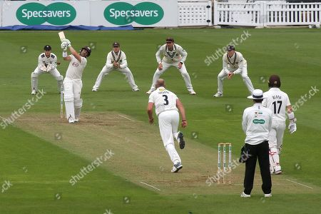 Surrey's Dean Elgar plays and misses off the bowling of Kent's Darren Stevens during Surrey CCC vs Kent CCC, Specsavers County Championship Division 1 Cricket at the Kia Oval on 7th July 2019