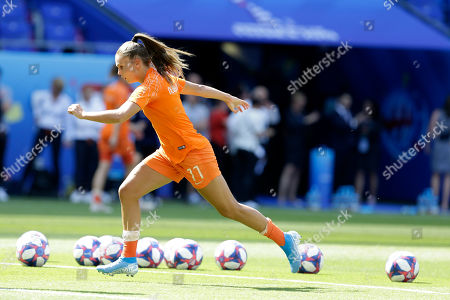 The Netherlands' Lieke Martens trains before the Women's World Cup final soccer match between US and The Netherlands at the Stade de Lyon in Decines, outside Lyon, France