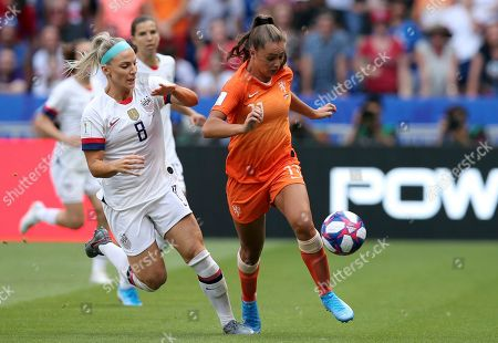 United States' Julie Ertz vies for the ball with Netherlands' Lieke Martens, right, during the Women's World Cup final soccer match between US and The Netherlands at the Stade de Lyon in Decines, outside Lyon, France