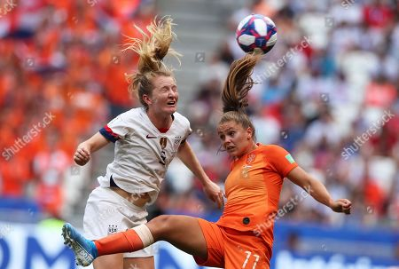 United States' Samantha Mewis vies for the ball with Netherlands' Lieke Martens, right, during the Women's World Cup final soccer match between US and The Netherlands at the Stade de Lyon in Decines, outside Lyon, France
