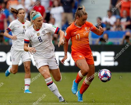 Lieke Martens of Netherlands in action against USA's Julie Ertz (L)  during the final match between USA and Netherlands at the FIFA Women's World Cup 2019 in Lyon, France, 07 July 2019.