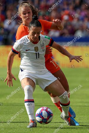 Ali Krieger of the USA (L) in action against Lieke Martens of the Netherlands (R) during the FIFA Women's World Cup 2019 final soccer match between USA and Netherlands in Lyon, France, 07 July 2019.