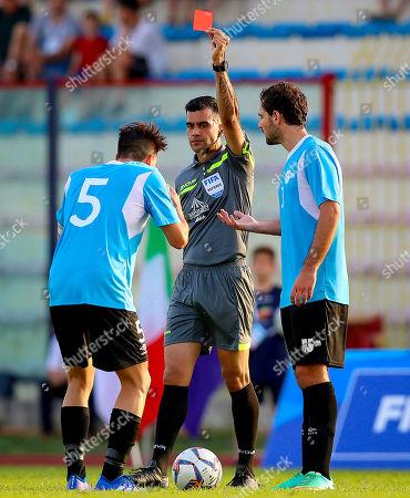 Ireland vs Uruguay. Referee Rohit Saggi red cards Diego Martin Bonaudi Melgar of Uruguay
