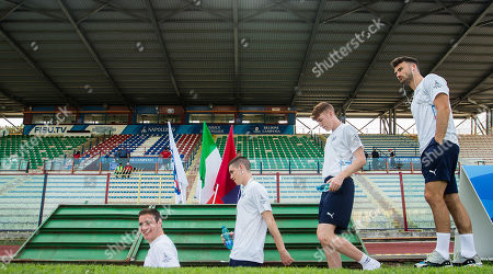 Stock Photo of Ireland vs Uruguay. Ireland's Alan O'Sullivan, Dean Kelly, Sean Quinn and Michael Scott walk back into the changing room