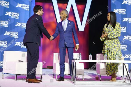 Pete Buttigieg, Rev. Al Sharpton, Michelle Ebanks. Mayor of South Bend Pete Buttigieg, Rev. Al Sharpton, and Michelle Ebanks on the Power Stage at the 2019 Essence Festival at the Ernest N. Morial Convention Center, in New Orleans