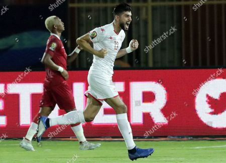 Tunisia's Ferjani Sassi celebrates a goal during the 2019 Africa Cup of Nations (AFCON) quarter final  soccer match between Madagascar and Tunisia in Cairo, Egypt, 11 July 2019.