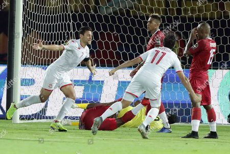 Tunisia's Ferjani Sassi (L) celebrates a goal during the 2019 Africa Cup of Nations (AFCON) quarter final  soccer match between Madagascar and Tunisia in Cairo, Egypt, 11 July 2019.