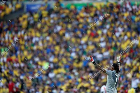 Peru's goalkeeper Pedro Gallese during the Copa America 2019 final soccer match between Brazil and Peru, at Maracana Stadium in Rio de Janeiro, Brazil, 07 July 2019.