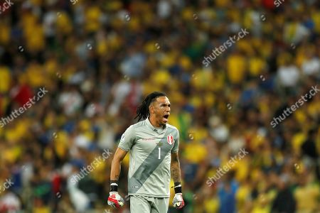 Peru's goalkeeper Pedro Gallese reacts during the Copa America 2019 final soccer match between Brazil and Peru, at Maracana Stadium in Rio de Janeiro, Brazil, 07 July 2019.
