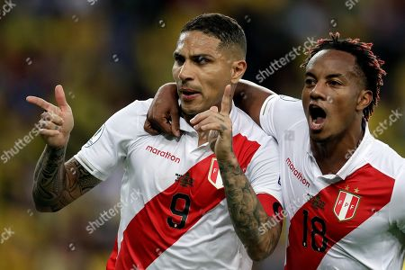 Peruvian Paolo Guerrero (L) celebrates with teammate Andre Carrillo after scoring a penalty, during the Copa America 2019 final soccer match between Brazil and Peru, at Maracana Stadium in Rio de Janeiro, Brazil, 07 July 2019.