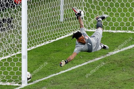 Brazilian Richarlison (out of frame) scores the third goal of his team against goalkeeper Pedro Gallese, during the Copa America 2019 final soccer match between Brazil and Peru, at Maracana Stadium in Rio de Janeiro, Brazil, 07 July 2019.