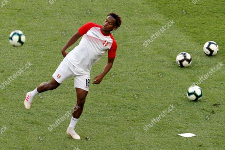 Peruvian Andre Carrillo warms up before the Copa America 2019 final soccer match between Brazil and Peru, at Maracana Stadium in Rio de Janeiro, Brazil, 07 July 2019.