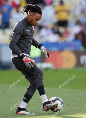 Peru's goalkeeper Pedro Gallese warms up prior the final match of the Copa America with Brazil at Maracana stadium in Rio de Janeiro, Brazil
