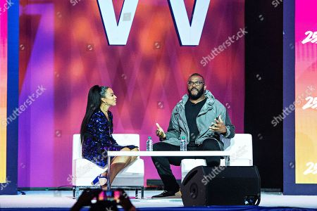 Tyler Perry; Angela Rye. Angela Rye, left, and Tyler Perry attend the 2019 Essence Festival at the Ernest N. Morial Convention Center, in New Orleans