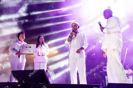 Stock Picture of Michelle Ebanks;LaToya Cantrell;Ed Lewis;Frankie Beverly. Mayor Latoya Cantrell, from left, Michelle Ebanks, Frankie Beverly and Ed Lewis attend the 2019 Essence Festival at the Mercedes-Benz Superdome, in New Orleans
