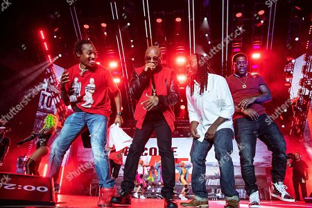Jermaine Dupri; Kaine; D-Roc. Kaine, from left, Jermaine Dupri, and D-Roc perform at the 2019 Essence Festival at the Mercedes-Benz Superdome, in New Orleans