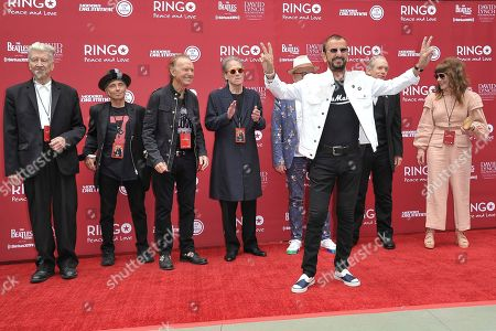 Ringo Starr, David Lynch, Richard Lewis, Jenny Lewis. Ringo Starr, center, with David Lynch, Richard Lewis, Jenny Lewis and others attend Ringo Starr's 11th Annual Peace and Love birthday celebration at Capitol Records Tower, in Los Angeles