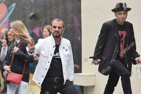 Ringo Starr and Nils Lofgren attend Ringo's 11th Annual Peace and Love birthday celebration at Capitol Records Tower, in Los Angeles