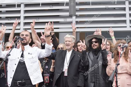 Ringo Star, David Lynch, Sheila E. Ringo Star, center is joined by David Lynch, Sheila E. And others onstage during Ringo's 11th Annual Peace and Love birthday celebration at Capitol Records Tower, in Los Angeles