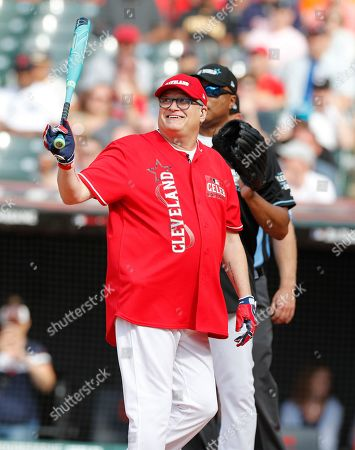 Actor Drew Carey at the plate to bat during All-Star Celebrity Softball  Game at Progressive Field in Cleveland, Ohio, USA, 07 July 2019.