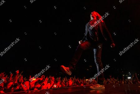 British band 'Def Leppard' singer Joe Elliott performs on stage during the Rock Fest concert played at the Santa Coloma de Gramanet's Can Zam park in Barcelona, Spain, 07 July 2019.