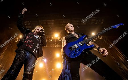 British band 'Def Leppard' singer Joe Elliott (L) and guitarist Phil Collen (R) perform on stage during the Rock Fest concert played at the Santa Coloma de Gramanet's Can Zam park in Barcelona, Spain, 07 July 2019.