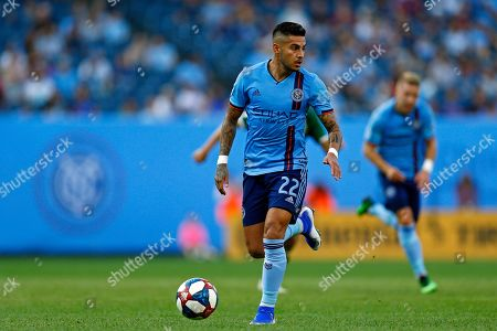 New York City FC defender Ronald Matarrita controls the ball during the first half of an MLS soccer match against the Portland Timbers, in New York. The Timbers won 1-0